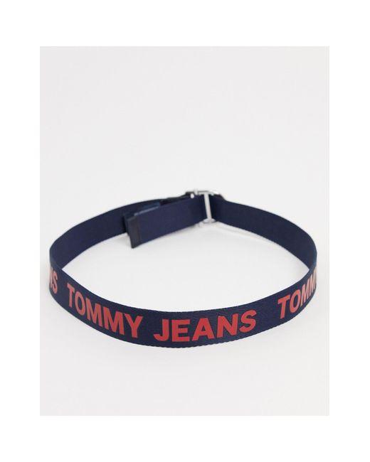 Cintura blu navy con logo di Tommy Hilfiger in Blue da Uomo