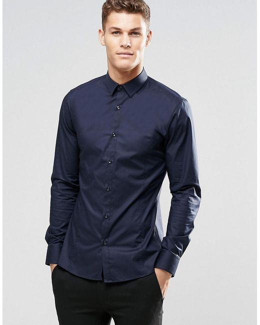 HUGO | Blue By Boss Smart Shirt In Navy Stretch Slim Fit for Men | Lyst