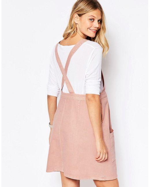 Asos Denim Pinafore Dress In Pink in Pink