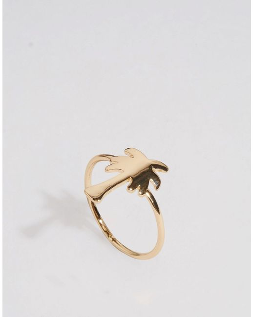 asos palm tree ring in gold lyst
