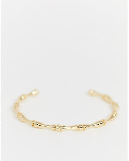 ASOS Metallic Cuff Bracelet In Bamboo Ball Design In Gold Tone