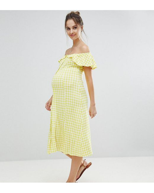ASOS - Yellow Off Shoulder Button Through Midi Sundress In Gingham - Lyst