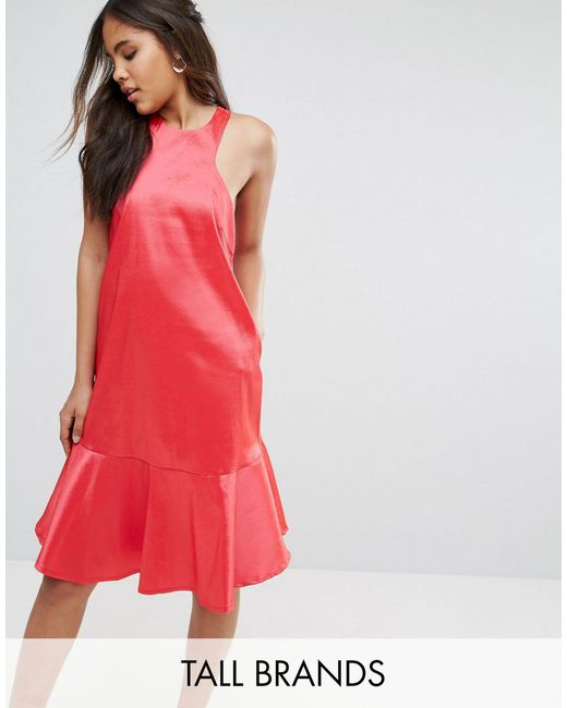 Y.A.S Red Y.a.s Studio Tall High Neck Midi Dress With Fluted Hem Detail-pink