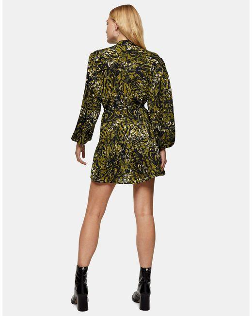 Зеленое Платье-рубашка С Оборками И Леопардовым Принтом -зеленый Цвет TOPSHOP, цвет: Green