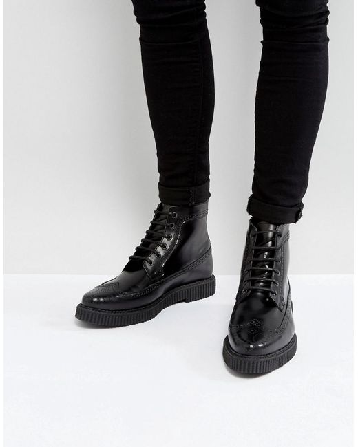Asos Brogue Shoes In Black Leather With Creeper Sole