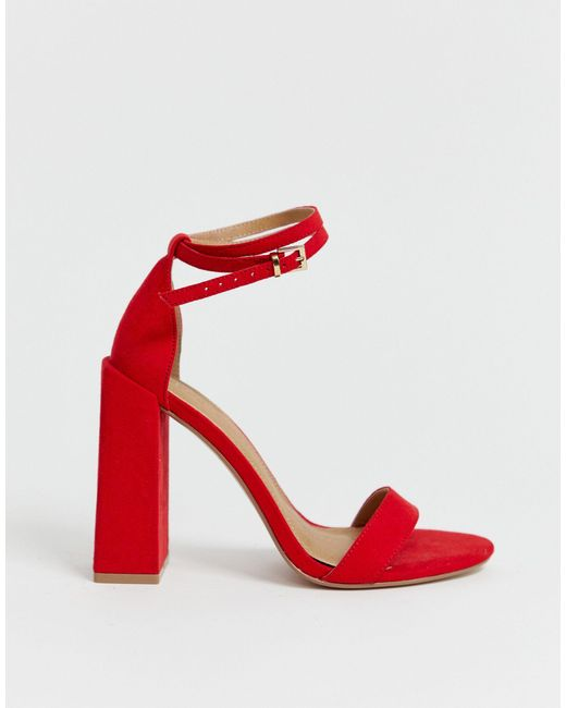 asos red heeled sandals