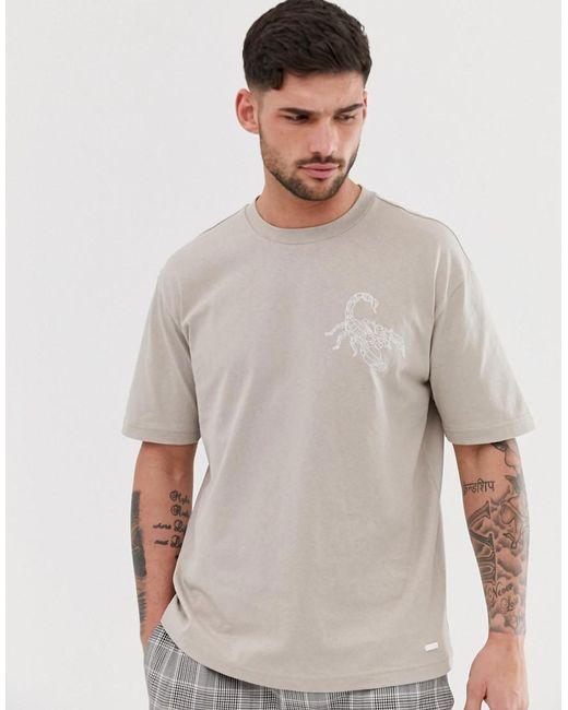 BOSS Gray Timesnr Rubberised Scorpion T-shirt In Stone for men