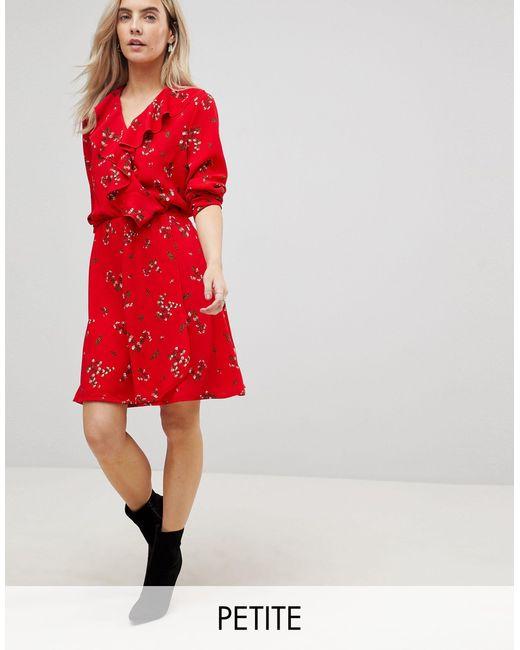 Vero Moda Red Floral Printed Mini Tea Dress