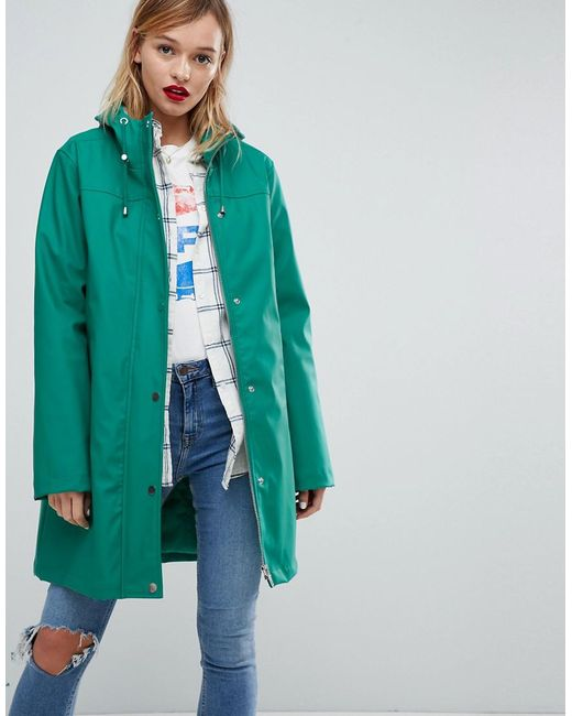 ASOS DESIGN - Green Premium Borg Raincoat - Lyst