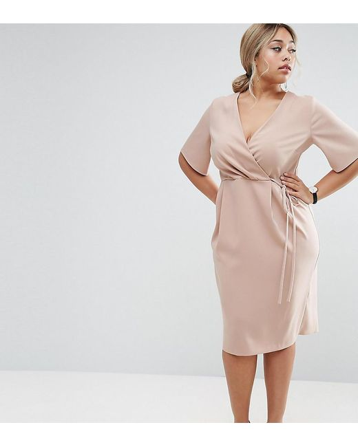 ASOS | Natural Midi Wrap Dress With Tie Detail | Lyst