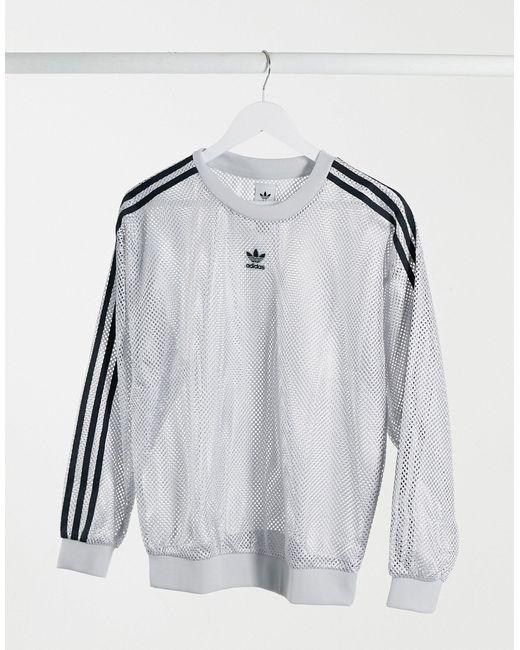 Серый Сетчатый Свитшот С Логотипом Adidas Originals, цвет: Gray