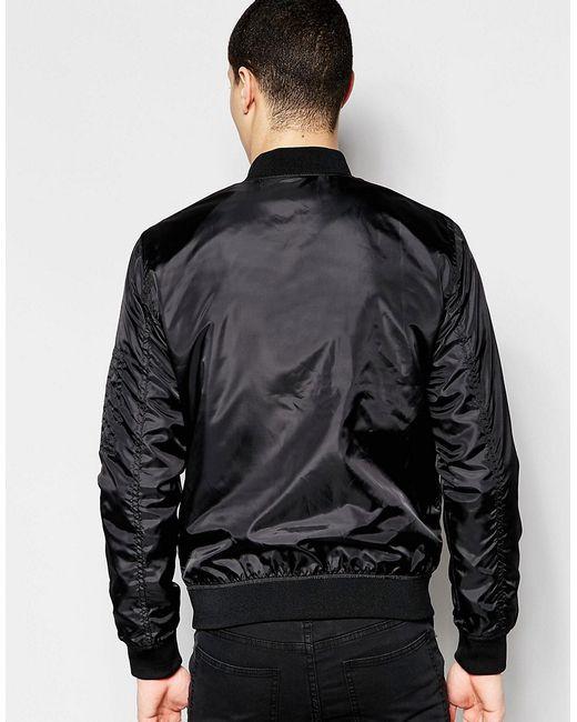 jack jones lightweight bomber jacket black in black. Black Bedroom Furniture Sets. Home Design Ideas