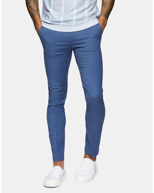 Topman Blue Skinny Fit Suit Trousers for men