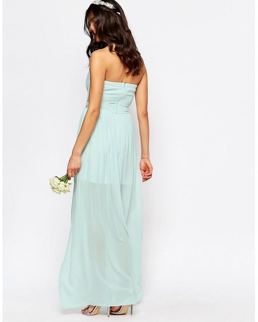 Tfnc London Wedding Pleated Embellished Waist Maxi Dress In Green