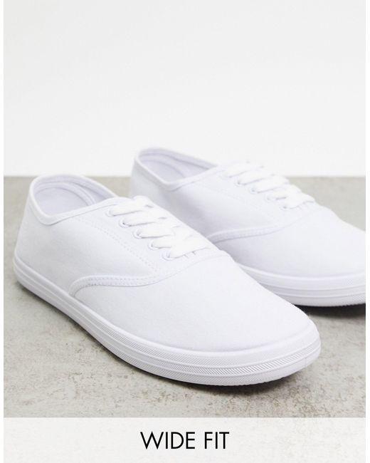 Белые Парусиновые Оксфордские Кеды Для Широкой Стопы ASOS для него, цвет: White