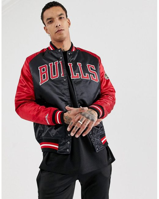 fa3149956a8 Mitchell   Ness Chicago Bulls Satin Jacket In Black   Red in Red for ...