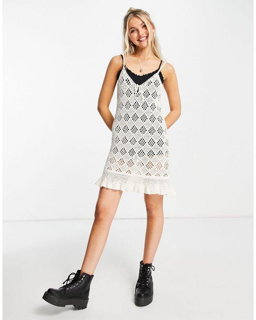 American Eagle White Crochet Tank Dress