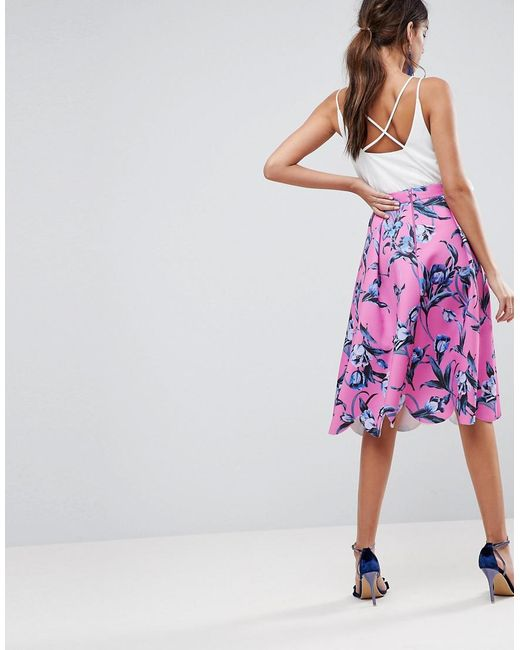 newest selection limited price new photos Women's Pink Asos Scuba Midi Prom Skirt With Scallop Hem In Floral Print