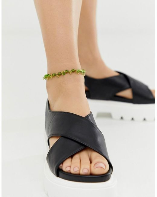 ASOS Metallic Anklet With Green Beads