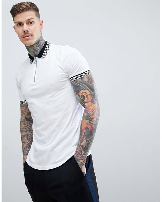 ASOS DESIGN - White Polo With Checkerboard Collar And Zip Neck for Men - Lyst