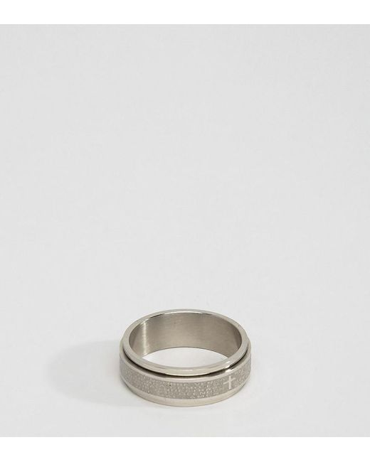 Seven London | Metallic Seven Engraved Ring Exclusive To Asos for Men | Lyst