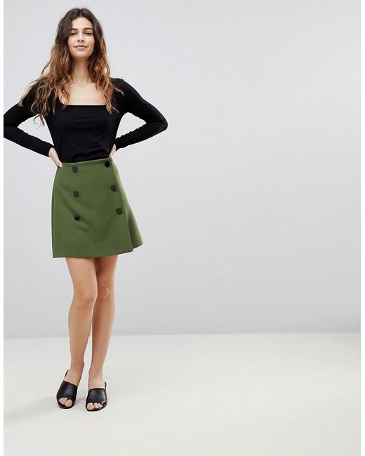 ASOS - Green Double Breasted Mini Skirt - Lyst