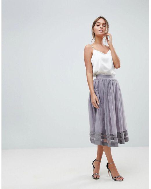 Lyst - Little Mistress Midi Skirt in Gray - Save 21% 7f934b9c8