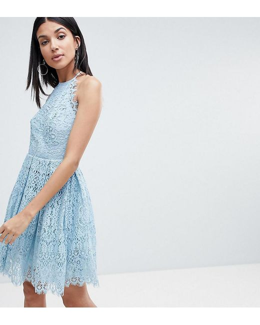 ASOS - Pink Asos Design Tall Pinny Prom Mini Dress In Lace - Lyst