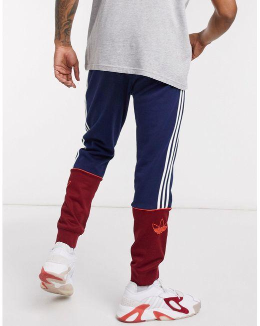 Сине-бордовые Джоггеры С 3 Полосками -темно-синий Adidas Originals для него, цвет: Blue