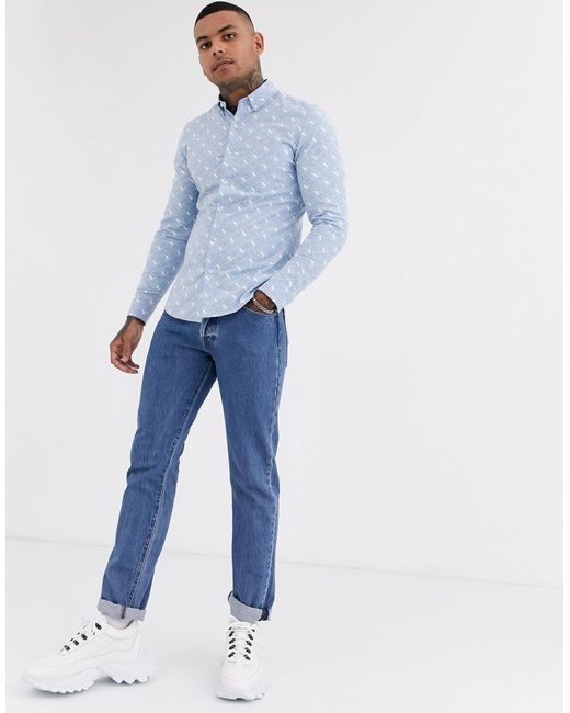 Синяя Рубашка С Принтом Пантер -синий Topman для него, цвет: Blue