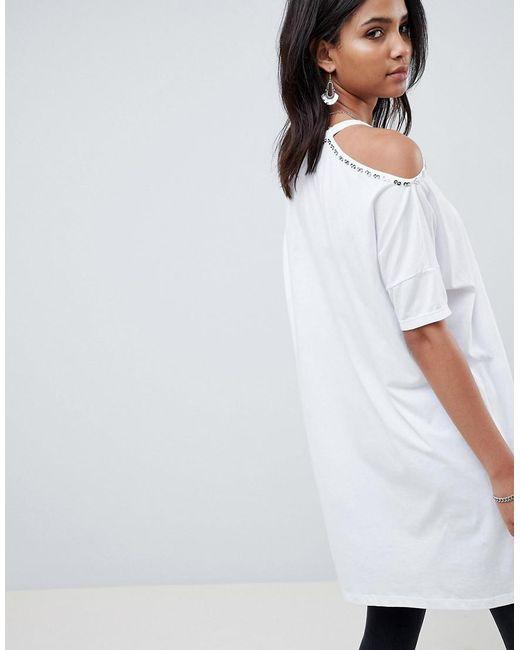 Robe Épaule Froid Avec Détail Floral - Religion Blanc Eukbxzd