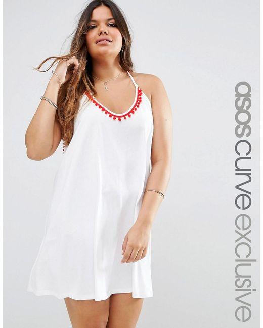 ASOS   White Curve Beach Mini Dress With Pom Pom Detail   Lyst