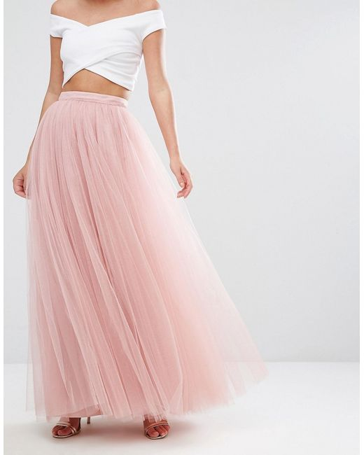 tulle maxi skirt pink in pink lyst
