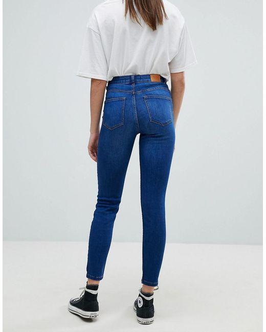 Skinny Haute Taille Bleu De Coloris Femme Jean 54jq3ALR