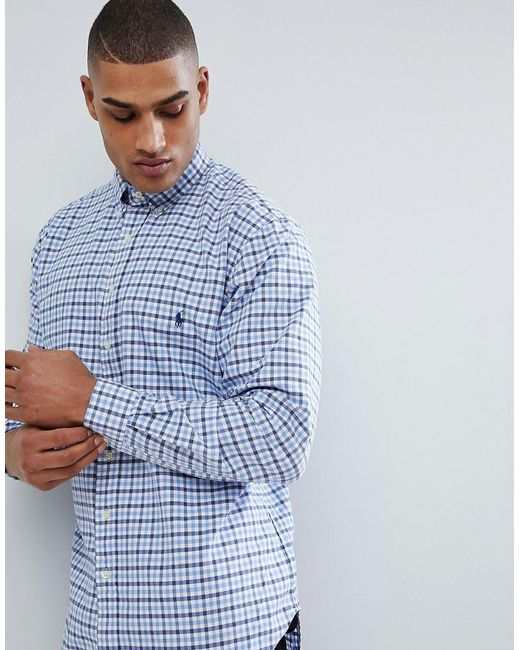9ccc5c4ff ... cheapest polo ralph lauren tall gingham check oxford shirt in blue  white for men cfc75 2032f