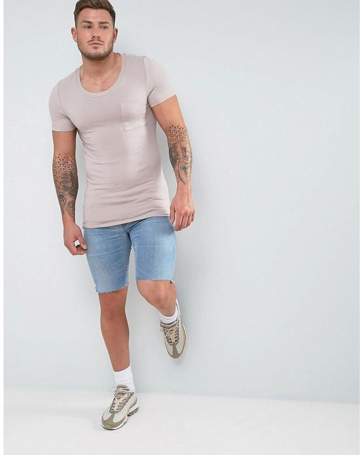 2018 Cheap Price Muscle Scoop Neck T-Shirt With Chest Pocket In White - White Asos For Sale Wide Range Of Cheap Online CRWxBHMj6