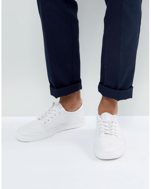 ASOS - Lace Up Trainers In White Leather for Men - Lyst