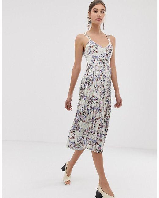 UNIQUE21 Multicolor Floral Strappy Pleated Midi Dress