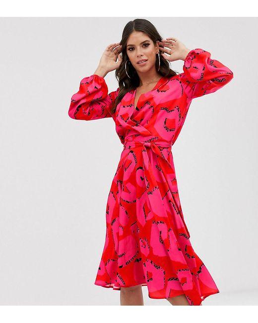 Robe mi-longue cache-cœur en satin - Rose à pois Flounce London en coloris Pink