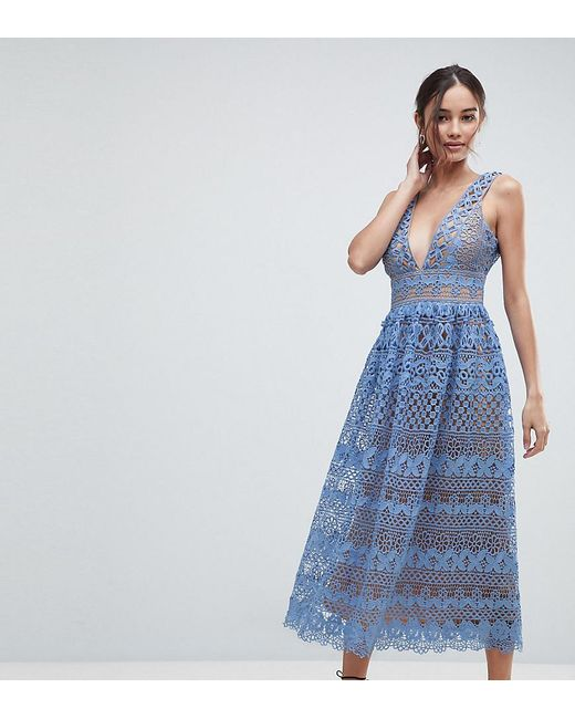 bf80a5fe970 Boohoo - Blue Exclusive Lace Midi Dress - Lyst ...