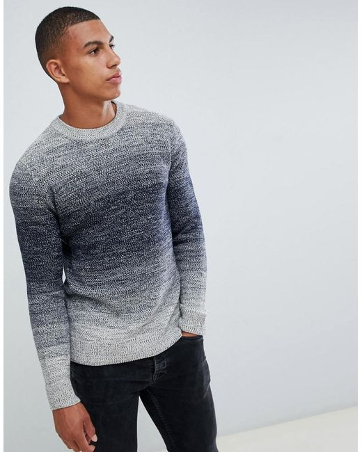 Jack & Jones - Blue Originals Plus Size Knitted Jumper With Mixed Yarn Fade for Men - Lyst