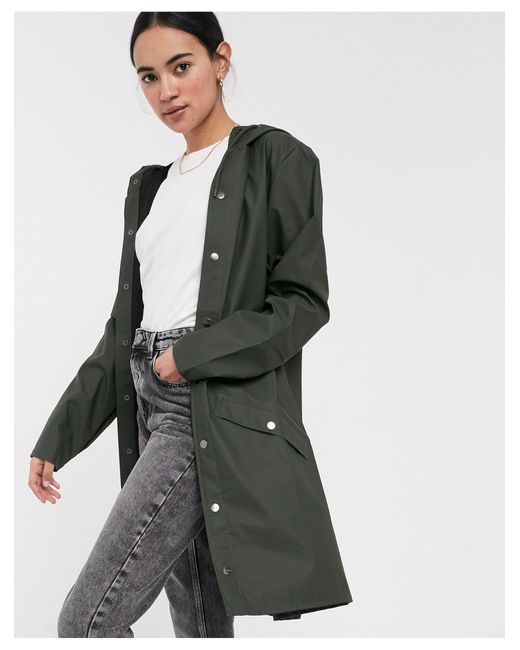 Зеленая Длинная Водонепроницаемая Куртка -зеленый Rains, цвет: Multicolor