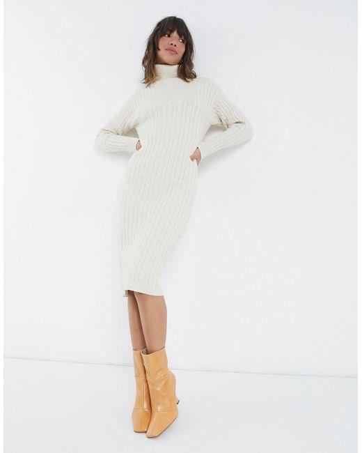 Платье-джемпер С Высоким Воротом И Узором «косичка» -белый Fashion Union, цвет: White