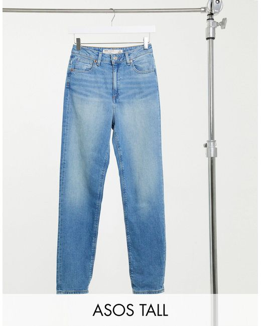 ASOS DESIGN Tall Hourglass - Farleigh - Mom jeans slim lavaggio stone wash di ASOS in Blue