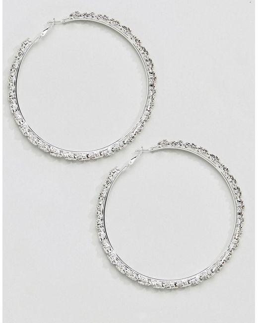 True Decadence - Metallic Silver Embellished Hoop Earrings (+) - Lyst