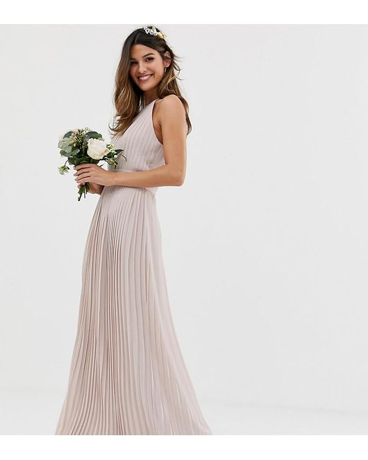TFNC London Brown Bridesmaid Exclusive Pleated Maxi Dress