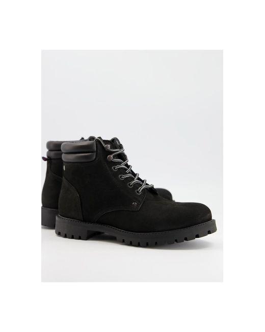 Черные Кожаные Ботинки На Шнуровке -черный Цвет Jack & Jones для него, цвет: Black