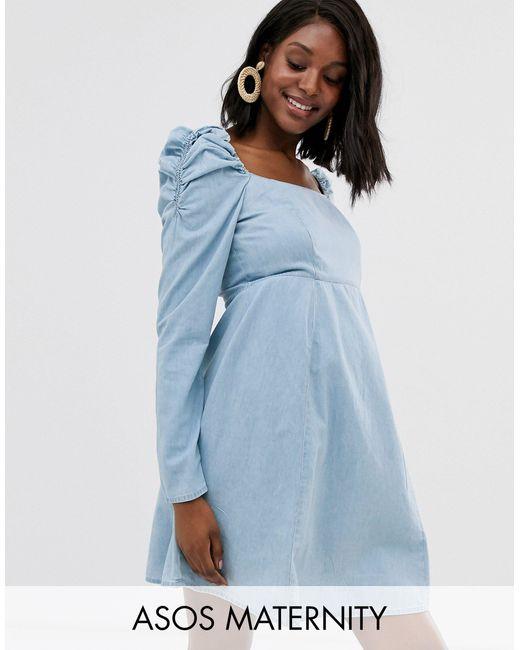 ASOS Asos Design Maternity - Milkmaid - Denim Mini-jurk in het Blue