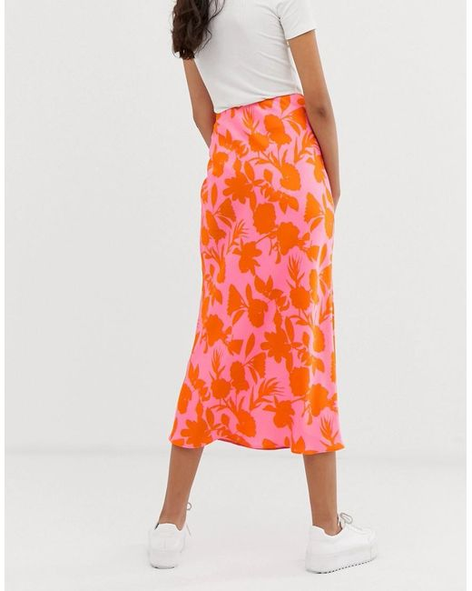 db89509cf1 ... ASOS - Multicolor Asos Design Tall Exclusive Bias Cut Satin Slip Midi  Skirt In Floral Print