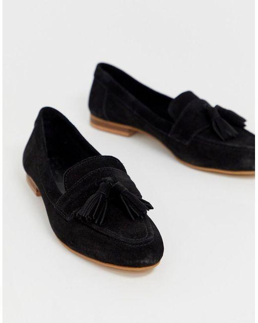 ASOS Message - Loafers Van Suède Met Brede Pasvorm En Kwastje in het Black